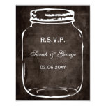 rustic mason jar wedding rsvp 4.25x5.5 paper invitation card