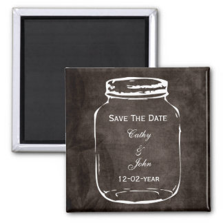 rustic mason jar wedding save the date 2 inch square magnet