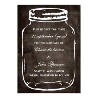 rustic mason jar wedding save the date 5x7 paper invitation card