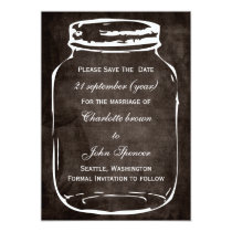 rustic mason jar wedding save the date card