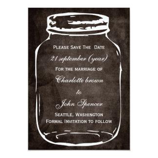 "rustic mason jar wedding save the date 5"" x 7"" invitation card"