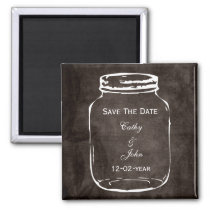 rustic mason jar wedding save the date magnet