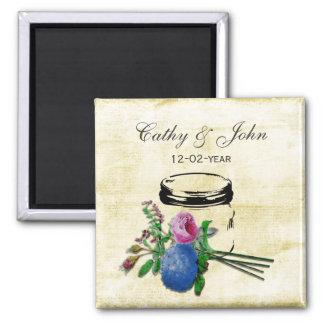 rustic mason jar wedding save the date fridge magnet