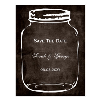 rustic mason jar wedding save the date post cards