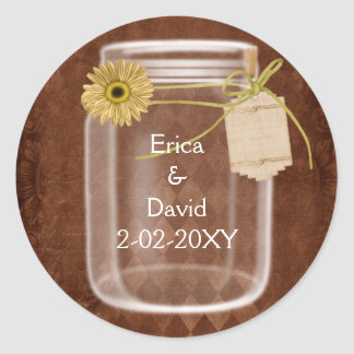 rustic mason jar wedding seals classic round sticker