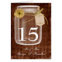 rustic mason jar wedding table numbers card
