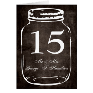 rustic mason jar wedding table numbers stationery note card