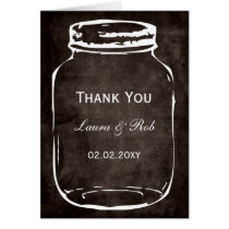 rustic mason jar wedding thank you card