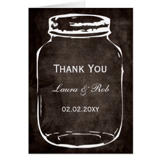 rustic mason jar wedding thank you greeting card