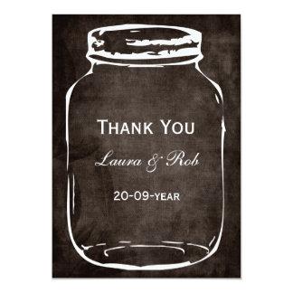 """rustic mason jar wedding thank you 5"""" x 7"""" invitation card"""