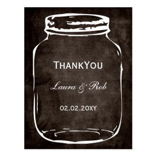 rustic mason jar wedding thank you postcard