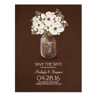 rustic mason jar white flowers save the date postcard