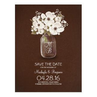 rustic mason jar white flowers save the date postcard