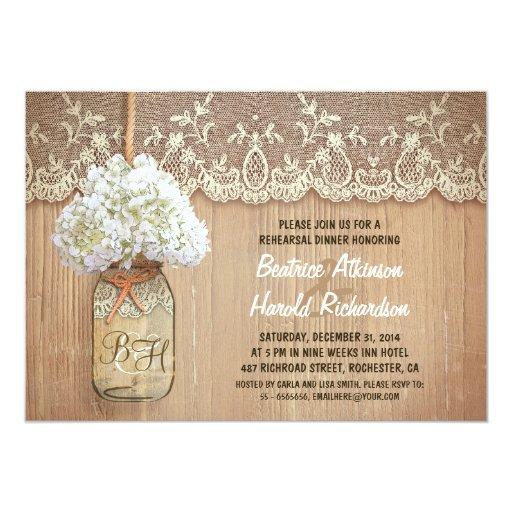 rustic mason jar white hydrangea rehearsal dinner 5x7 Paper Invitation Card