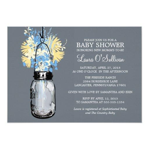 rustic mason jar wildflowers baby shower card zazzle