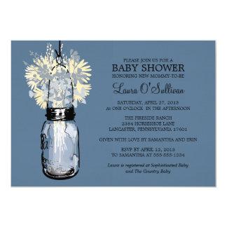 Rustic Mason Jar Wildflowers Baby Shower 5x7 Paper Invitation Card