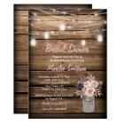 Rustic Mason Jar Wildflowers Barn Bridal Shower Card
