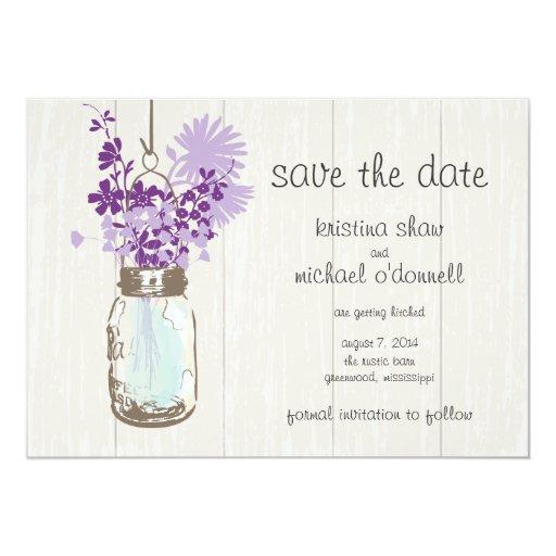Rustic Mason Jar & Wildflowers Save the Date 5x7 Paper Invitation Card