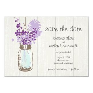 Rustic Mason Jar & Wildflowers Save the Date Card