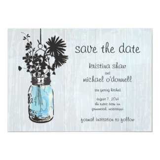 Rustic Mason Jar & Wildflowers Save the Date Card