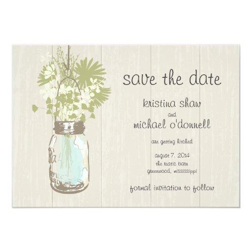 "Rustic Mason Jar & Wildflowers Save the Date 5"" X 7"" Invitation Card"