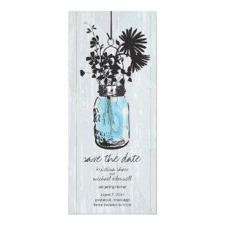 "Rustic Mason Jar & Wildflowers Save the Date 4"" X 9.25"" Invitation Card"