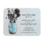 Rustic Mason Jar & Wildflowers Save the Date Rectangular Photo Magnet