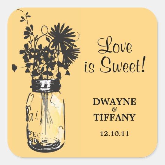 Rustic Mason Jar & Wildflowers Square Sticker