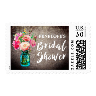 Rustic Mason Jar with Flower Bouquet Bridal Shower Postage