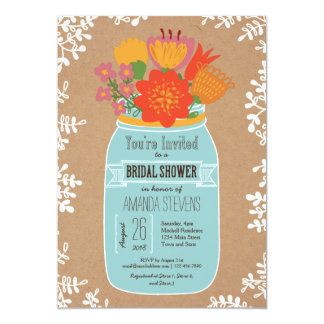 Rustic Mason Jar with Flowers Bridal Shower Personalized Invitation