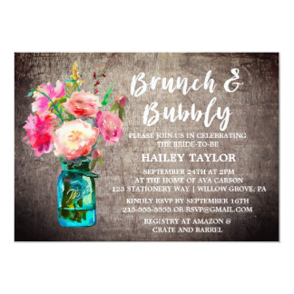 Rustic Mason Jar with Flowers Brunch and Bubbly Card