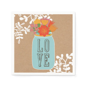 Rustic Mason Jar with Flowers LOVE on Craft Paper Standard Cocktail Napkin