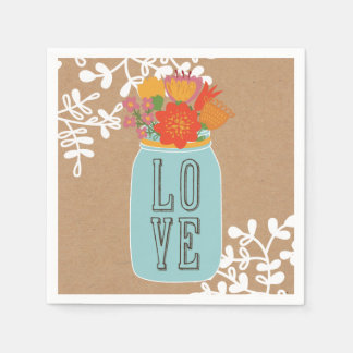 Rustic Mason Jar with Flowers LOVE on Craft Paper Disposable Napkin