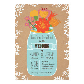 Rustic Mason Jar with Flowers on Craft Paper 5x7 Paper Invitation Card