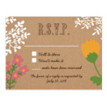 Rustic Mason Jar with Flowers on Craft Paper RSVP Post Cards