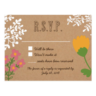 Rustic Mason Jar with Flowers on Craft Paper RSVP Postcard