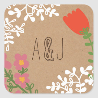 Rustic Mason Jar with Flowers on Craft Paper Square Sticker