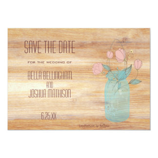 Rustic Mason Jar with Peach Flowers Save the Date Card