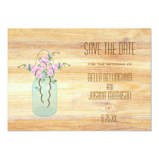 Rustic Mason Jar with Pink Azaleas Save the Date Card