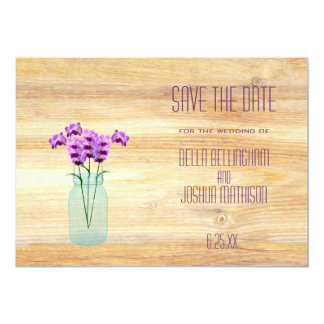 Rustic Mason Jar with Purple Orchids Save the Date Card