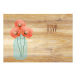 Rustic Mason Jar with Red Poppies RSVP Custom Invites