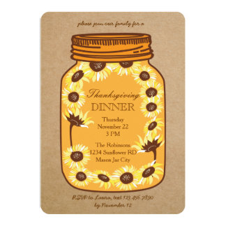 Rustic Mason Jar with Sunflowers Thanksgiving 5x7 Paper Invitation Card