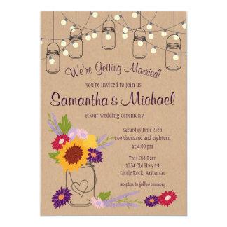 Rustic Mason Jar with Wildflowers Invitation