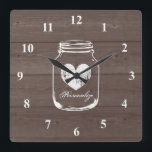 "Rustic mason jar wood grain panel wall clock<br><div class=""desc"">Rustic mason jar wood grain panel wall clock. Country chic brown and white design. Stylish rustic theme home decor for kitchen,  shop,  restaurant etc. Personalizable with quote or monogram. Square or round version.</div>"