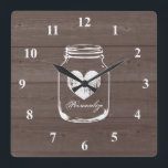 """Rustic mason jar wood grain panel wall clock<br><div class=""""desc"""">Rustic mason jar wood grain panel wall clock. Country chic brown and white design. Stylish rustic theme home decor for kitchen,  shop,  restaurant etc. Personalizable with quote or monogram. Square or round version.</div>"""