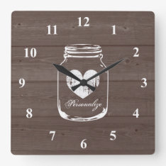 Rustic Mason Jar Wood Grain Panel Wall Clock at Zazzle
