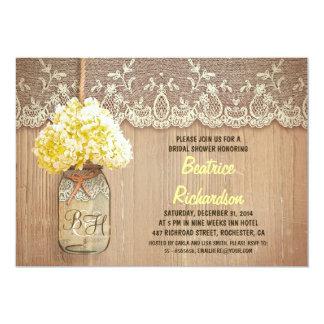 rustic mason jar yellow hydrangea bridal shower card