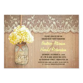 rustic mason jar yellow hydrangea engagement party card