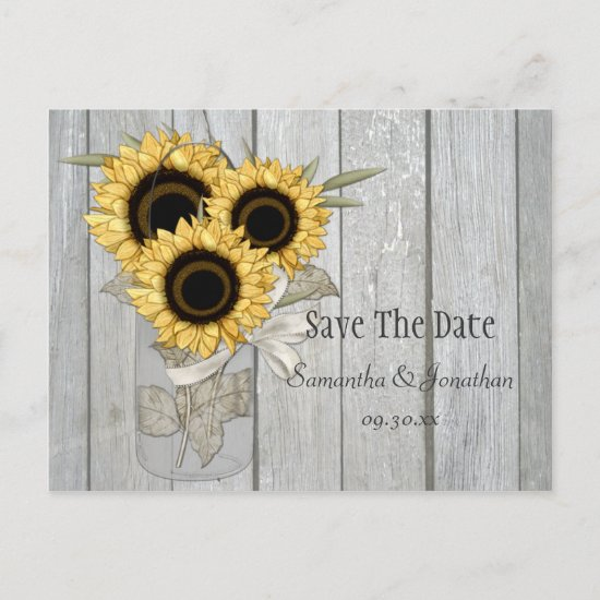 Rustic Mason Jar Yellow Sunflowers Save The Date Announcement Postcard