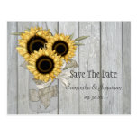 Rustic Mason Jar Yellow Sunflowers Save The Date Postcards